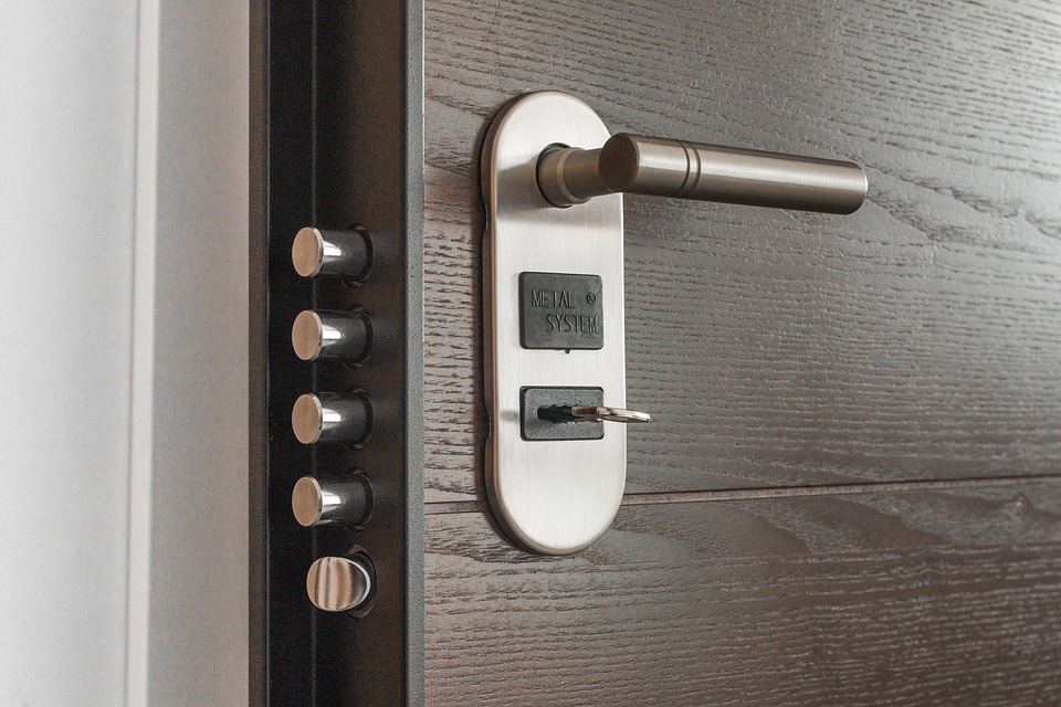 highly-efficient door lock on a solid exterior door